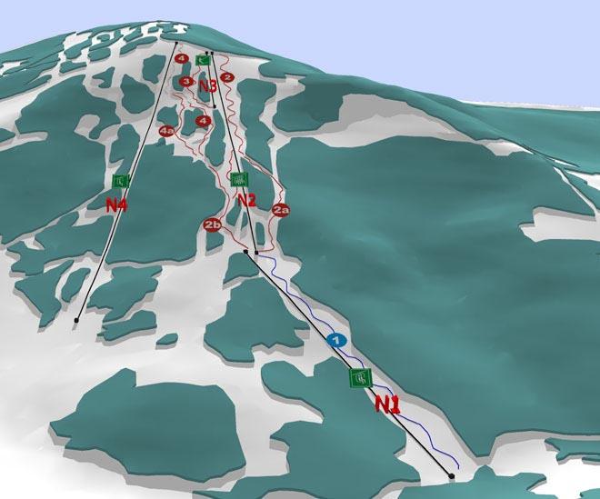 Схема трасс горнолыжного курорта Красия