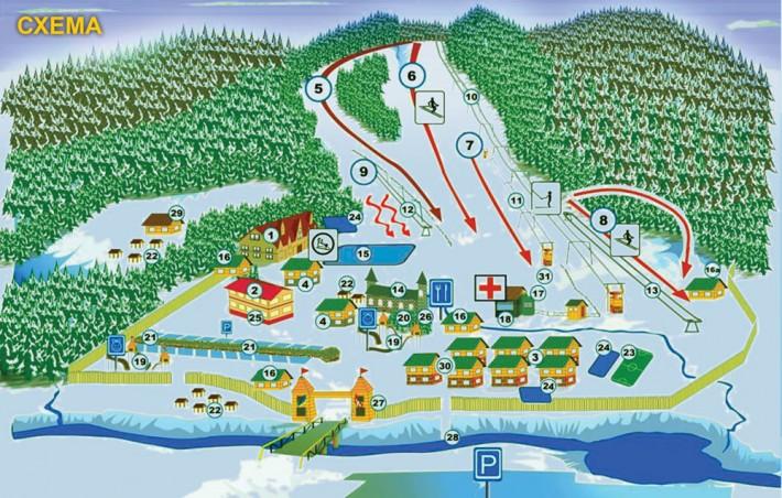 Схема трасс гонолыжного курорта  Мигово