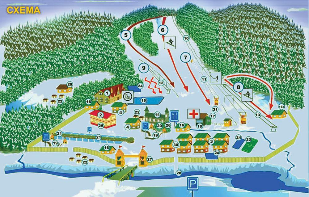 Схема трасс гонолыжного