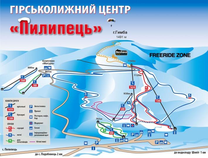Схема трасс Пилипец